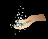 Hand met Diamanten Stock Fotografie