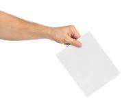 Hand met document stemming royalty-vrije stock afbeeldingen