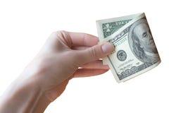 Hand met dollars Stock Afbeeldingen