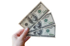 Hand met dollars Stock Foto's