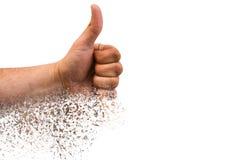 Hand met duim die omhoog op witte achtergrond wordt ge?soleerde O.k. teken door de mens Als hand met verspreidingseffect Afkeerco stock afbeelding