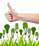 Hand met duim omhoog en de bollen van de ecoenergie Royalty-vrije Stock Afbeelding