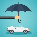 Hand met een paraplu die de auto beschermt Royalty-vrije Stock Afbeeldingen