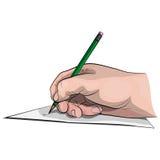 Hand met een potlood Stock Foto