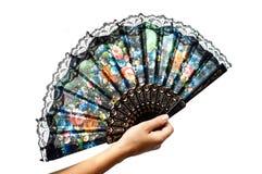 Hand met een ventilator Royalty-vrije Stock Afbeeldingen