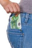 Hand met euro bankbiljet Stock Foto