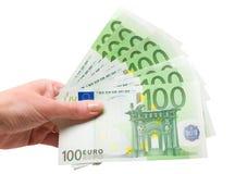 Hand met euro bankbiljetten Royalty-vrije Stock Afbeeldingen