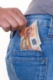 Hand met euro rekening Stock Foto's