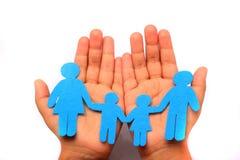 Hand met familie Stock Foto
