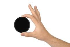Hand met fotofilter stock afbeelding
