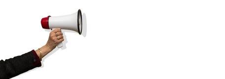 Hand met geïsoleerde megafoon Royalty-vrije Stock Foto
