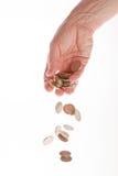 Hand met geïsoleerdn geld Stock Foto's