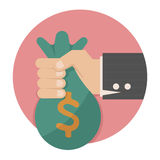Hand met geld vector illustratie