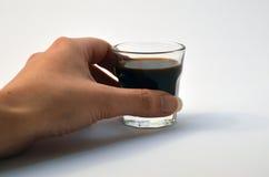 Hand met glas Stock Afbeelding