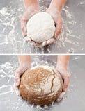 Hand met het deeg en het brood royalty-vrije stock fotografie
