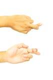 Hand met het wijsvinger en middelvingerkruis Royalty-vrije Stock Afbeeldingen