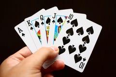 Hand met kaarten Stock Foto's