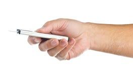 Hand met kaarthouder op wit Stock Foto