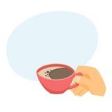 Hand met kop van koffie Stock Foto's