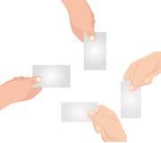 Hand met lege kaartreeks stock illustratie