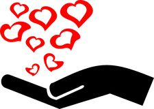 Hand met liefde Stock Fotografie