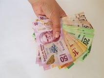 hand met Mexicaanse rekeningen van verschillende benamingen, van de voorzijde Stock Foto