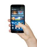 Hand met mobiele telefoon Stock Afbeelding