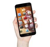 Hand met mobiele telefoon Royalty-vrije Stock Foto's