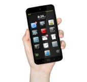 Hand met mobiele telefoon Stock Foto's