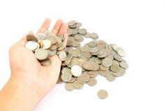 Hand met muntstukken Royalty-vrije Stock Foto's