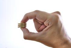 Hand met muntstukken Royalty-vrije Stock Fotografie