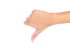 Hand met neer duim Stock Fotografie