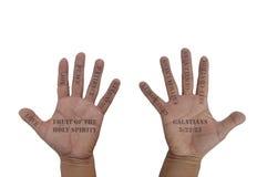 Hand met negen Vruchten van de Heilige Geest Stock Fotografie