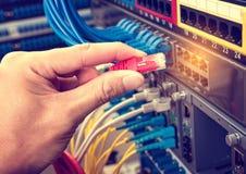 Hand met netwerkkabels met servers worden verbonden die Royalty-vrije Stock Foto