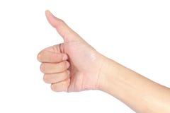 Hand met omhoog duim Stock Afbeelding