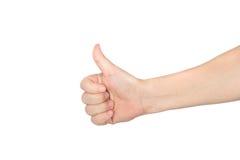 Hand met omhoog geïsoleerdes duim Royalty-vrije Stock Afbeeldingen