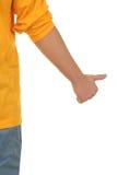 Hand met opgeheven duim stock foto