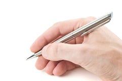 Hand met pen Stock Afbeeldingen