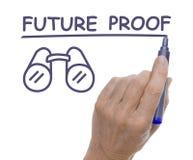 Hand met Pen Drawing Future Proof en Verrekijkers Stock Fotografie
