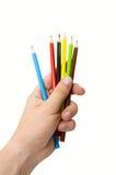 Hand met potloden Stock Fotografie