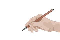 Hand met potlood die iets schrijven royalty-vrije illustratie