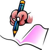 Hand met potlood en notitieboekje royalty-vrije illustratie