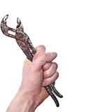 Hand met roestige oude moersleutel Stock Afbeelding