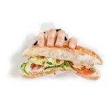 Hand met sandwich Stock Fotografie