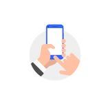 Hand met smartphoneillustratie royalty-vrije illustratie
