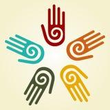 Hand met spiraalvormig symbool in een cirkel Royalty-vrije Stock Afbeelding