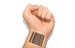 Hand met streepjescode stock foto's