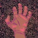 Hand met symbolisch, drugs, depressie, agressie royalty-vrije illustratie