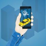 Hand met telefoon vectorillustratie in vlakke stijl Man hand die een telefoonconcept houden vector illustratie