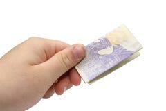 Hand met Tsjechisch bankbiljet Royalty-vrije Stock Foto